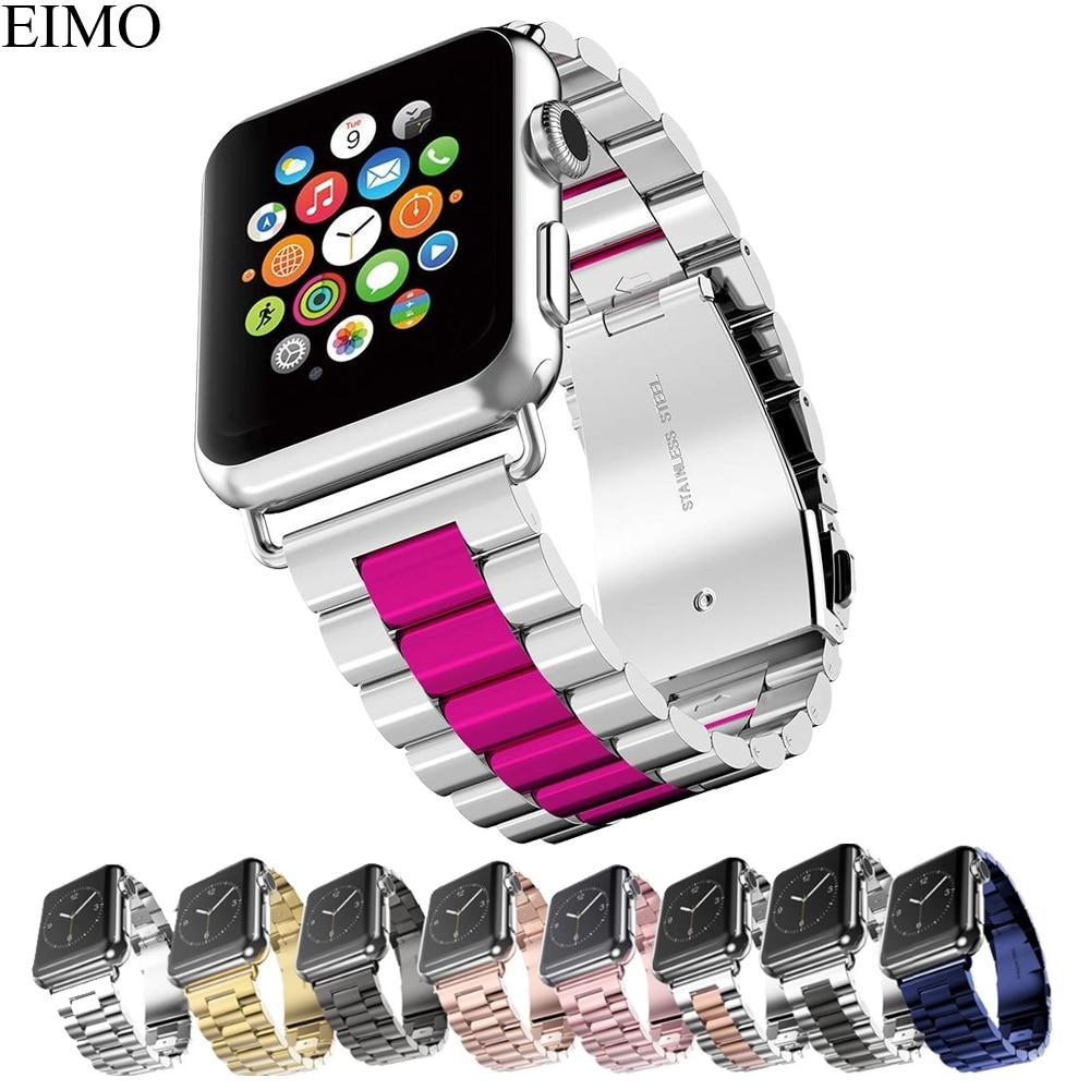 EIMO Bracelet En Acier Inoxydable Pour Apple Montre bande 42mm 44mm 38mm 40mm Iwatch Série 4 3 2 1 classique Lien Bracelet Poignet Bracelet