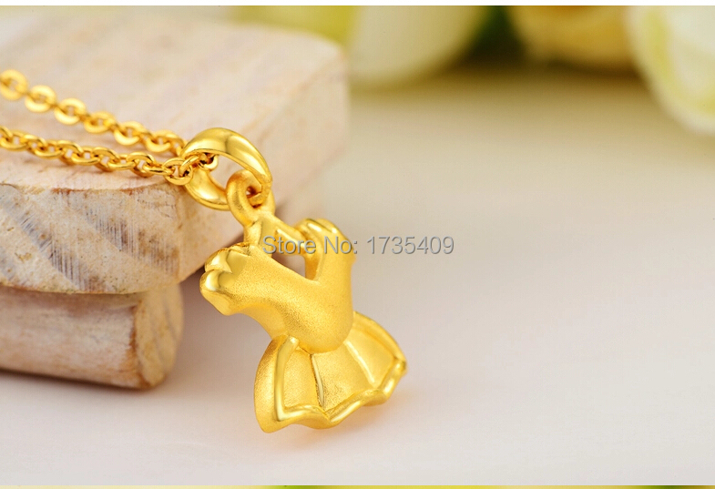 Hot sale 999 24k Yellow Gold Pendant 3D Princess Dress Pendant 1.32g