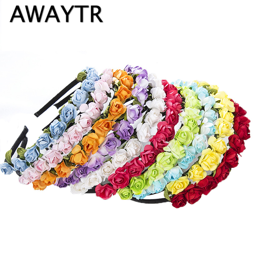 AWAYTR Cute Rose Flower Crown Festival Headband   Headwear   Wedding Garland Floral Hairband Accessories