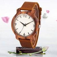 Sihaixin Зебра деревянные часы для мужчин Цифровой белый циферблат коричневый кожаный ремешок Уникальный Классические винтажные кварцевые на...