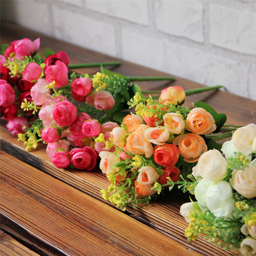Pastoral Estilo de La Flor Artificial Artificial Bouquet Flores Decoración de La