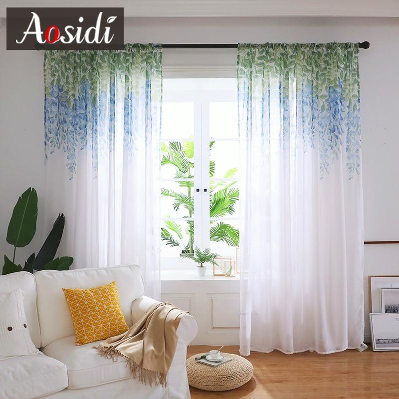 AOSIDI Wisteria fleur Design décor à la maison moderne Tulle rideaux pour salon chambre fenêtre Voile rideaux Transmission de lumière