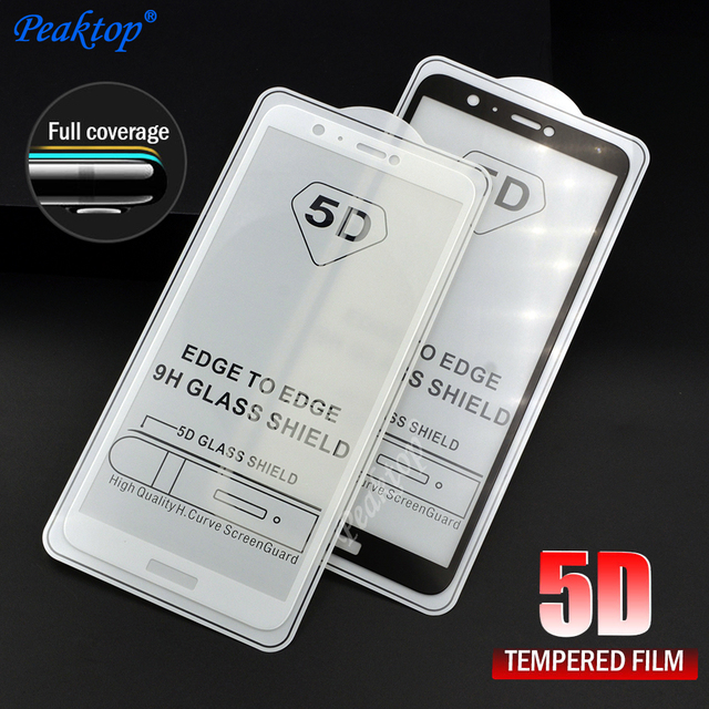 official photos 7e950 5f8cc US $1.66 20% OFF 5D Full Cover Screen Protector for Huawei P Smart Tempered  Glass Film 9H 5D Curved Protective Enjoy 7S PSmart FIG AL00 5.65 inch-in ...