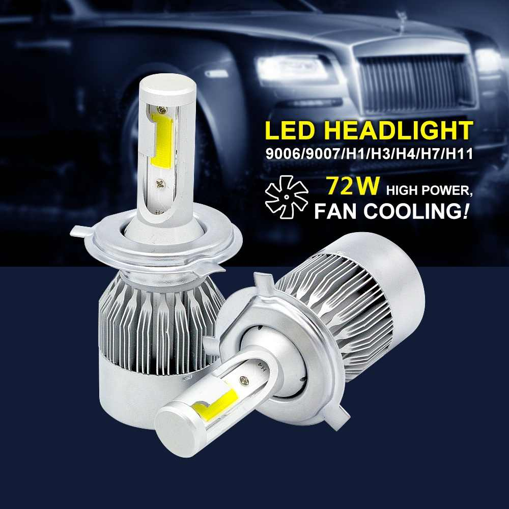 2pcs ANBLUB 72W H4 H7 LED Car Headlights 7600LM H1 H3 H11 9005 9006 9007 Super Bright COB LED Light Bulb Auto Headlamp 6000K
