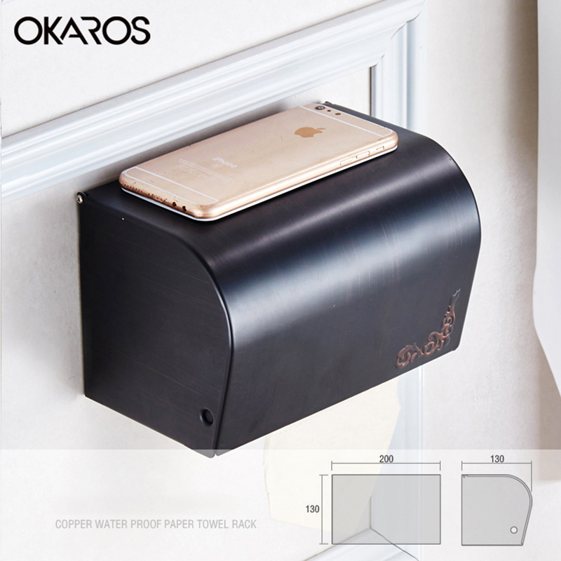 OKAROS Bathroom Anique Toilet Paper Roll Holder Toilet Tissue box Solid Brass Oil Rubbed Bronze Black Paper Towel Rack y3698 retro napkin towel toilet paper bin basket holder antique brass