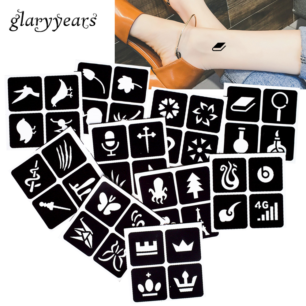 [ glaryyears ] 10 Pieces Henna Tattoo Stencil Paste Drawing Bird Crown Pattern Chest Body Art Make up Colored Drawing Women G#24