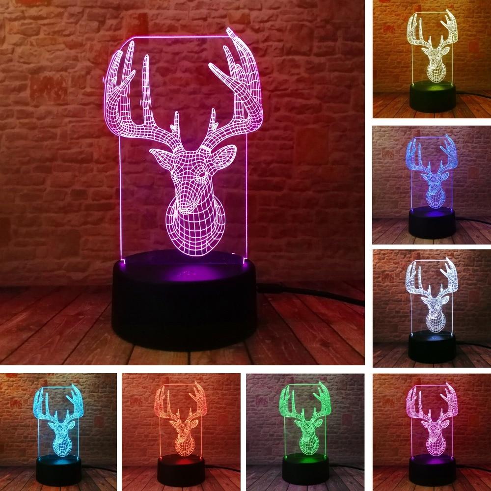 Novelty 3D Long Horned Deer Christmas Decor Night Light Lamp Gadget - Night Lights - Photo 1