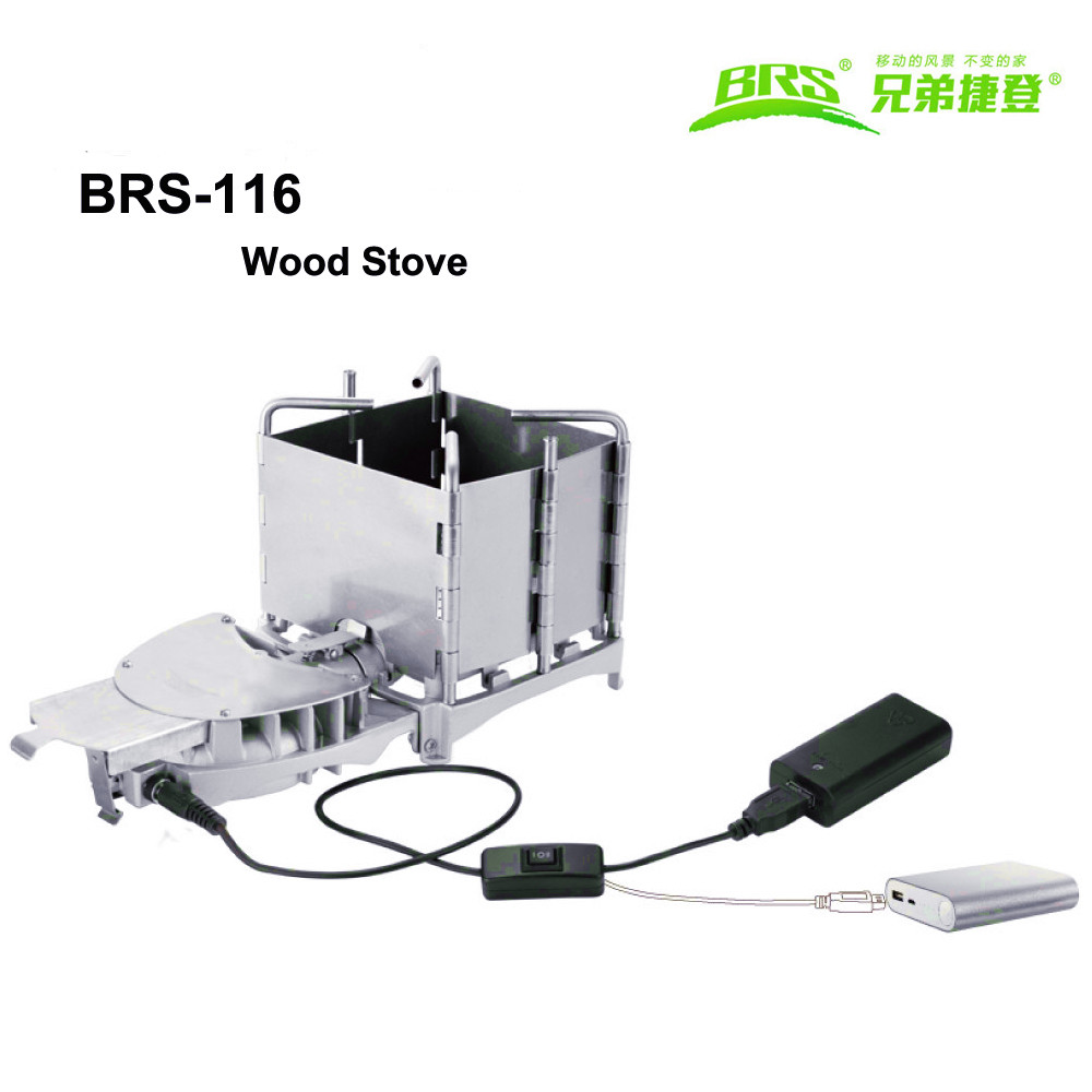 Camping Folding Wood Stove Charcoal Stove Electrinic Blower Stove Outdoor BBQ Furnace BRS-116