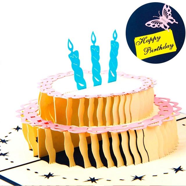 Happy Birthday Postcard Greeting Gift Cards Blank Paper 3D – Gift Card Happy Birthday