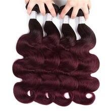 1b 99j pacotes ombre onda do corpo brasileiro cabelo tecer pacotes cabelo tecer brasileiro 3 / 4 pacotes ombre extensões de cabelo atacado
