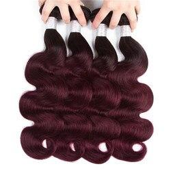 Top 1B 99j Ombre Brasilianische Körper Welle Haar Weben Bündelt Roh Reines haar 3 oder 4 Bundles Ombre Haar Extensions sehr Weiche Großhandel