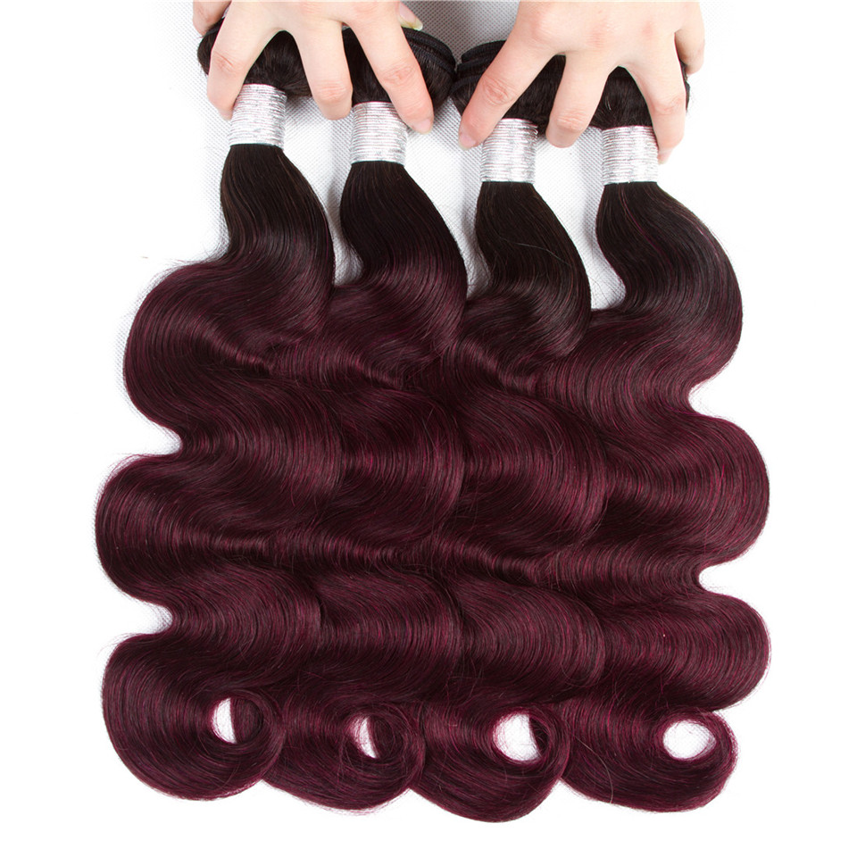 Top 1B 99j Ombre Brazilian Body Wave Hair Weave Bundles Raw Virgin Hair 3 Or 4 Bundles Ombre Hair Extensions Very Soft Wholesale