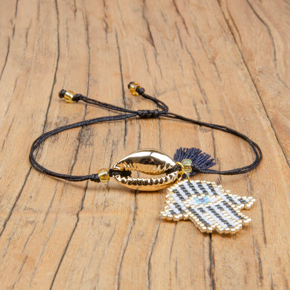 Go2boho Turkish Evil Eye Bracelet MIYUKI Pulseras Hamsa Hand Jewelry Gold Shell Fatima Hand Bracelet Women Dropshipping 2019 New in Charm Bracelets from Jewelry Accessories