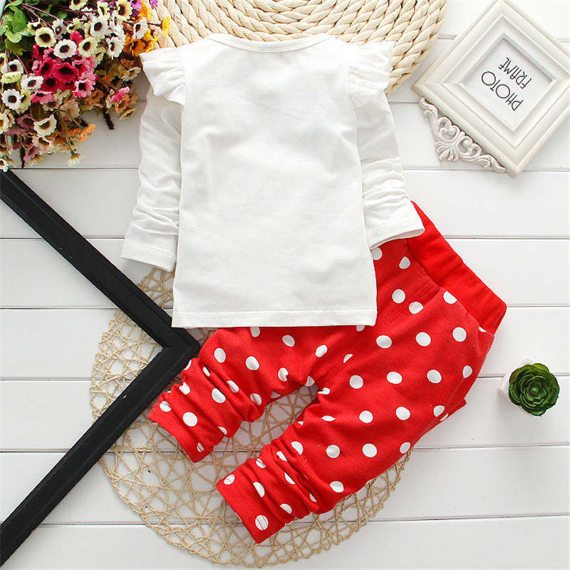 Newborn Baby Girl Clothes 2018 Spring Autumn Polka Dot Long Sleeved T-shirt + Pants Outfit Kids Bebes Tracksuits Jogging Suits 1