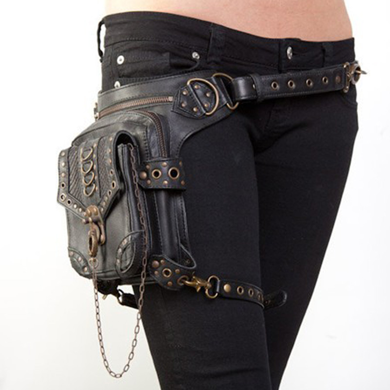 High Quality PU Leather Unisex Motorcycle Hip Leg Belt Bum Waist Fanny Pack Punk Rock Vintage Messenger Shoulder Cross Body  Bag