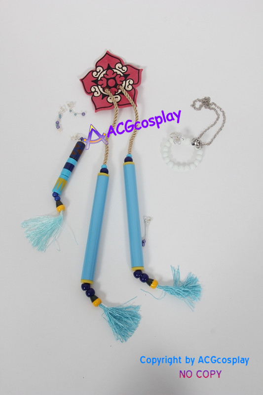 Final Fantasy X 10 Yuna cosplay costume comprennent collier oreille anneaux bague perles chaîne - 4