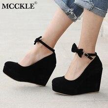 MCCKLE/Для женщин элегантные туфли на высоком каблуке на танкетке Свадебные туфли-лодочки под платье женские из флока на платформе Пряжка Ремешок на щиколотке Туфли с бантиками плюс Размеры