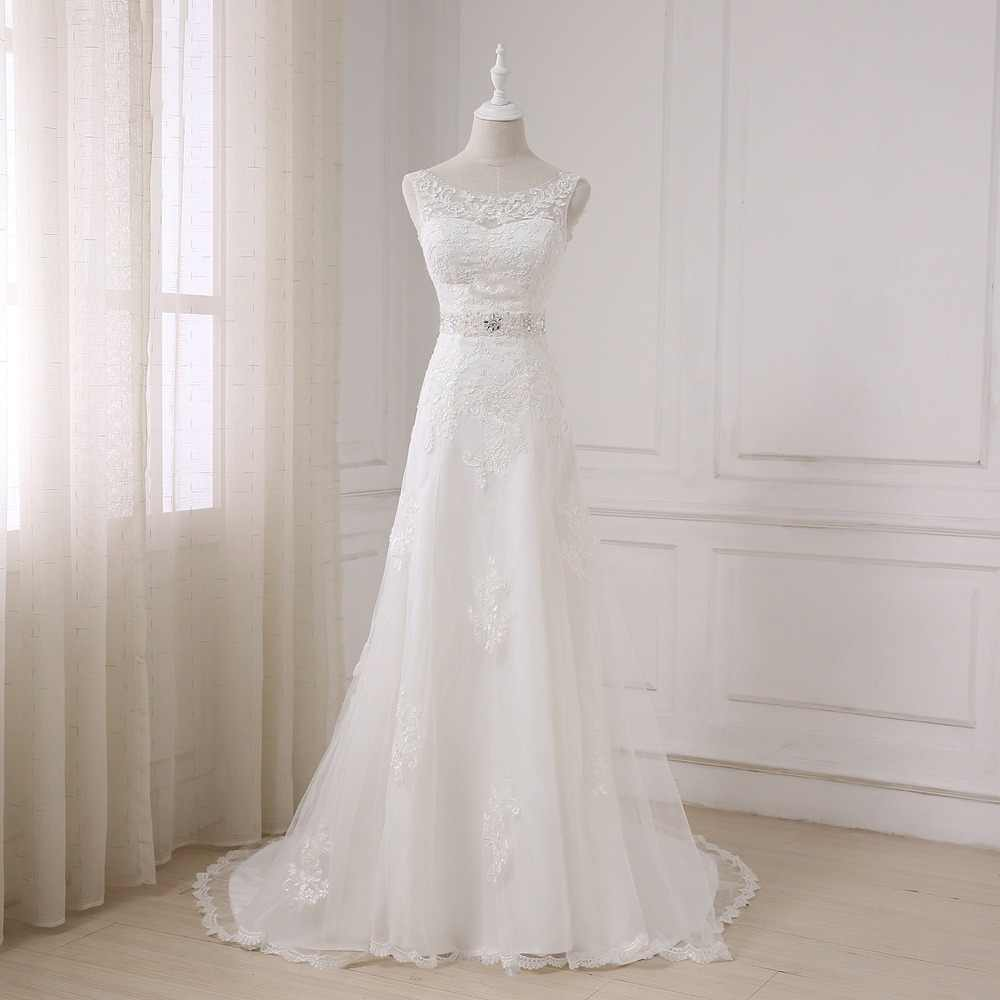 ADLN  Fashionable Elegant Long A Line Wedding Dress Boat Neck Low Back Beading Appliques Bride dresses Robe De Mariage