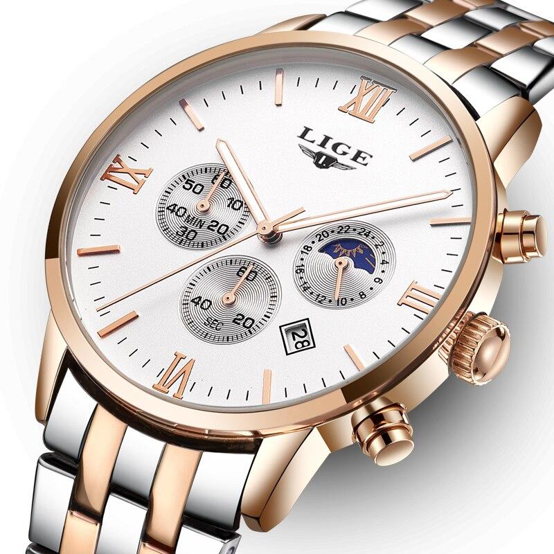2018 fashion top brand luxury LIGE moon phase all steel watch men's business fashion quartz watch men's outdoor sports Relogio fashion luxury brand lige steel