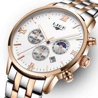 Mens Watches Top Brand Luxury LIGE Moon Phase Full Steel Watch Man Business Fashion Quartz Watches