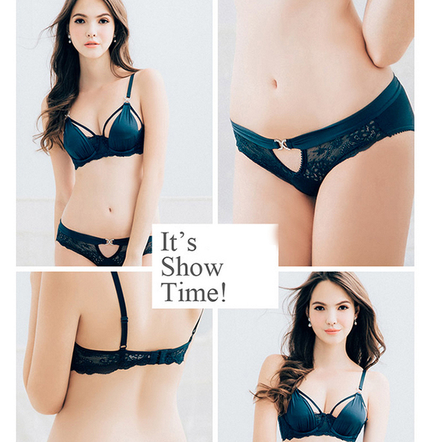 Show Time Women bra sets sexy lace sequined ultra-thin breathable silk bra set plus size underwear diamond panties gift items