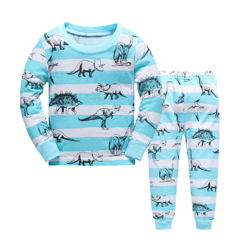 Kids   Pajamas     Sets   boys Dinosaur pattern night suit Children cartoon Sleepwear Girls Pyjamas kids 100% Cotton nightwear size 2-7Y