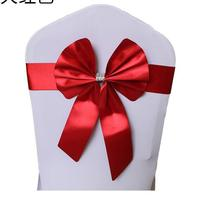 Back Bow Decoration Flower Elastic Chair Cover with Diamond Strap Yarn Ribbon Props Lycra DIY Decorations
