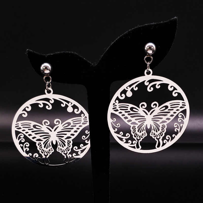 2019 Fashion Stainless Steel Earrings for Women Jewelry Silver Color Big Butterfly Stud Earring Jewelry collier ethnique E612276