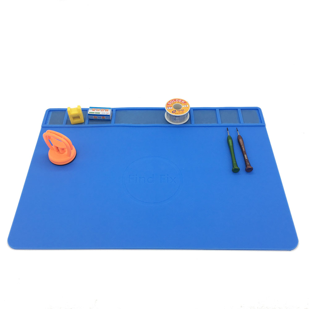 49x35cm 3 colors with Magnetic Screw Mat Section Heat Insulation Silicone Pad BGA Soldering Repair Station Maintenance Platform desk mat heat insulation silicone pad maintenance platform for bga soldering repair station with magnetic section hand tool set