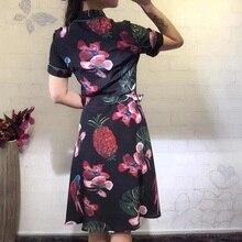 100%Silk Dress New Style Summer Vestido 2017 Women Peter Pan Collar Tropical Fruit Prints Short Sleeve Dress Casual Homecoming