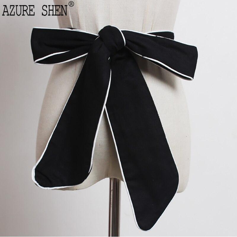 [AZURE,] Новая мода 2018 летняя черный контраст цвета стороны носить много способов большой бантом ремни женские QD043 ...