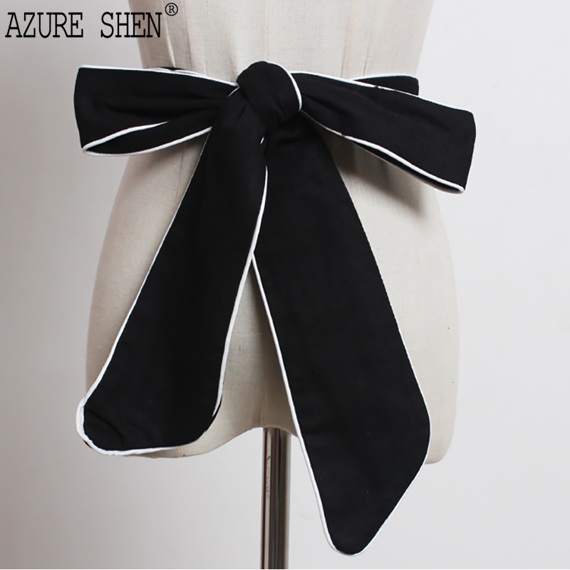 [EWQ] New fashion 2018 Summer black Contrast-colored sides wear many ways big bowknot belts women QD043 ...
