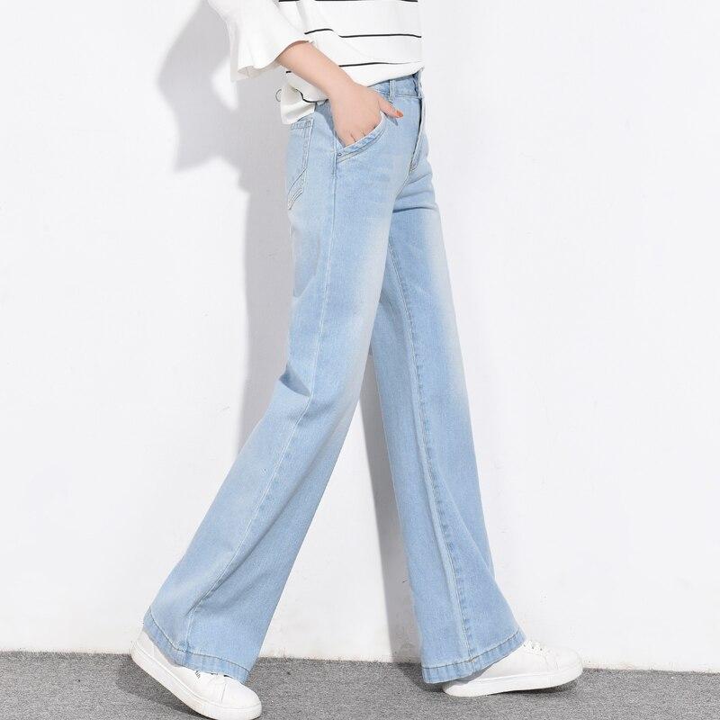 Automne 2018 Nouvelles Femmes De Haute Taille Légère Flare Jeans Loose Fit Large Jambe Bootcut Jeans Ciel Bleu Denim Pantalons Pattes D'éléphant
