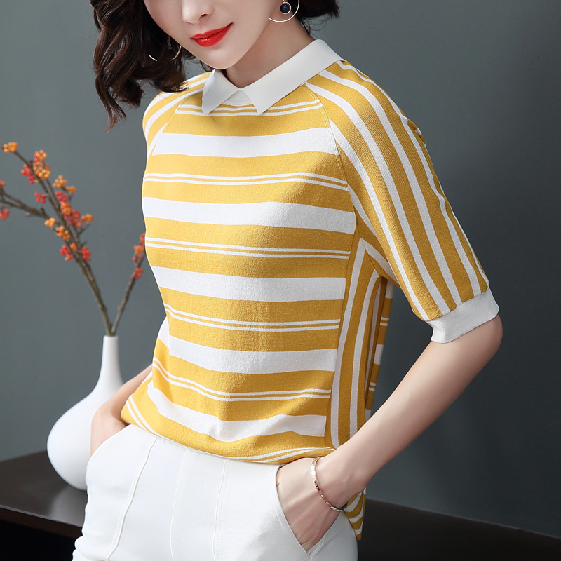 2019 New Women   Shirts   Half Striped Short Sleeve Knitting Turn-down Collar Silk Base   Blouse     Shirt   Green Navy Blue A687