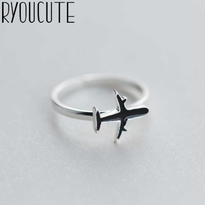 RYOUCUTE 100% Real 925 Sterling Silver Jewelry Fashion Big Black Airplane Rings for Women Bijoux Statement Antique Ring Anillos