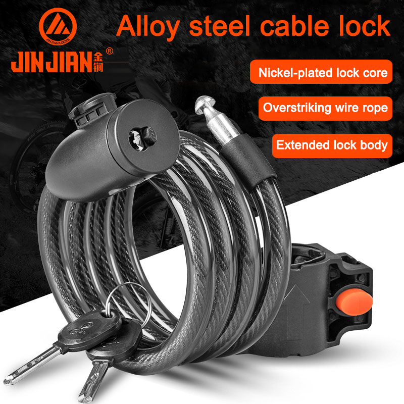 Bicycle Mountain Bike MTB Security Spiral Cable Lock 2 Keys 1.5 Meter 10mm