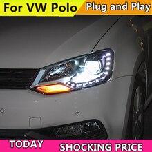 Автомобильный Стайлинг для Фольксваген Поло фара 2011- GTI Стиль фары светодиодный налобный фонарь дальнего ближнего света ксенон DRL Передняя фара
