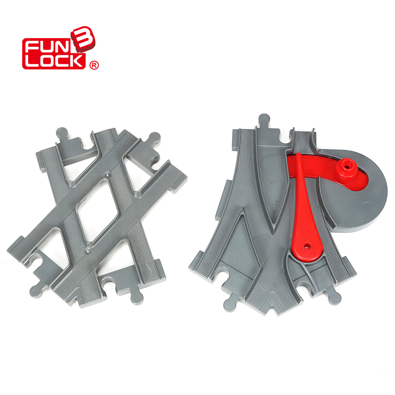 Funlock Duplo Blocks Toys Train Track Crossover Parts Railway Switch Building Bricks Gift for Children