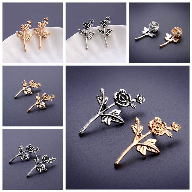 New Fashion Flower Pin Special Design Men Women Casual Brooches Gold/Silver Color Pin