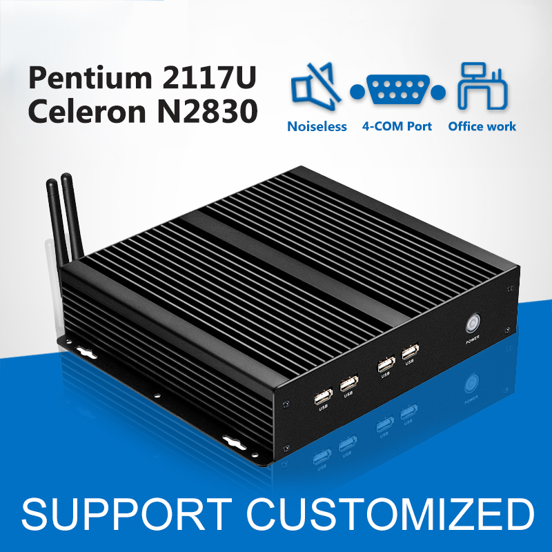 Fanless Mini Computer 4 COM Pentium 2117U Windows Xp Mini PC Celeron N2830 Industrial PC 4*Serial Port Wifi Usb Desktop