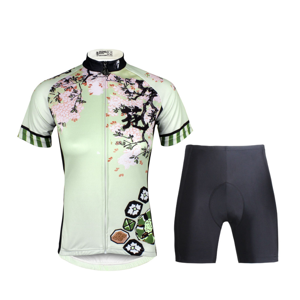 Cycling Jersey WomenCherry BlossomsShort Sleeve Cycling Clothing Women Cycling Jersey Cycling Sets X685