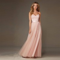Long Blush Pink Bridesmaid Dresses For Weddings 2019 Sexy Spaghetti Strap Crisscross Back Tulle Appliques Party Dress