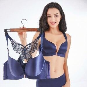 Image 5 - סקסי בתוספת גודל חזיות לנשים חלקה חזייה לדחוף את הלבשה תחתונה ללא משענת Bralette סגר קדמי חזייה גדול גדול כוס תחתונים