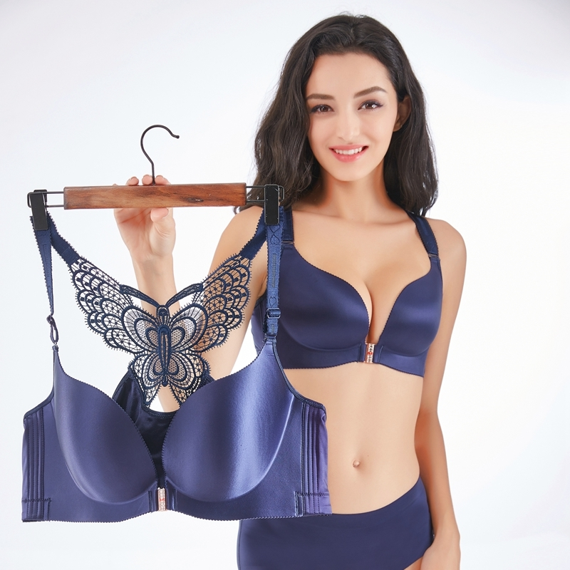 Sexy Plus Size Bras For Women Seamless Bra Push Up Lingerie Backless Bralette Front Closure Brassiere Big Large Cup Underwear