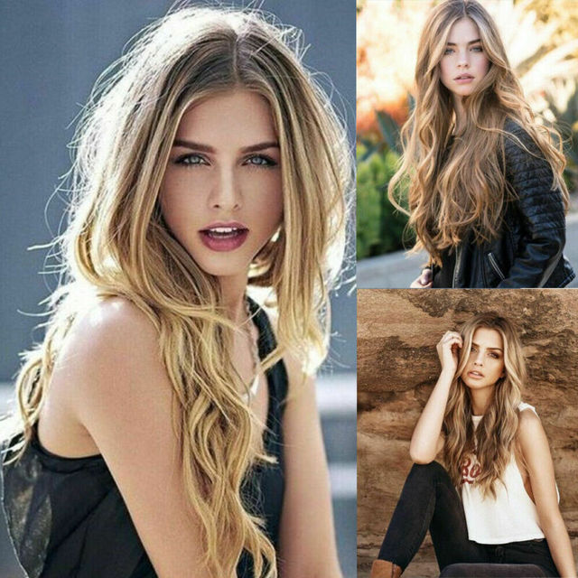 Women Fashion Synthetic Hair Lace Front Natural Wig Body Wavy Full Wig Blonde Party Holiday DIY Decorations 2