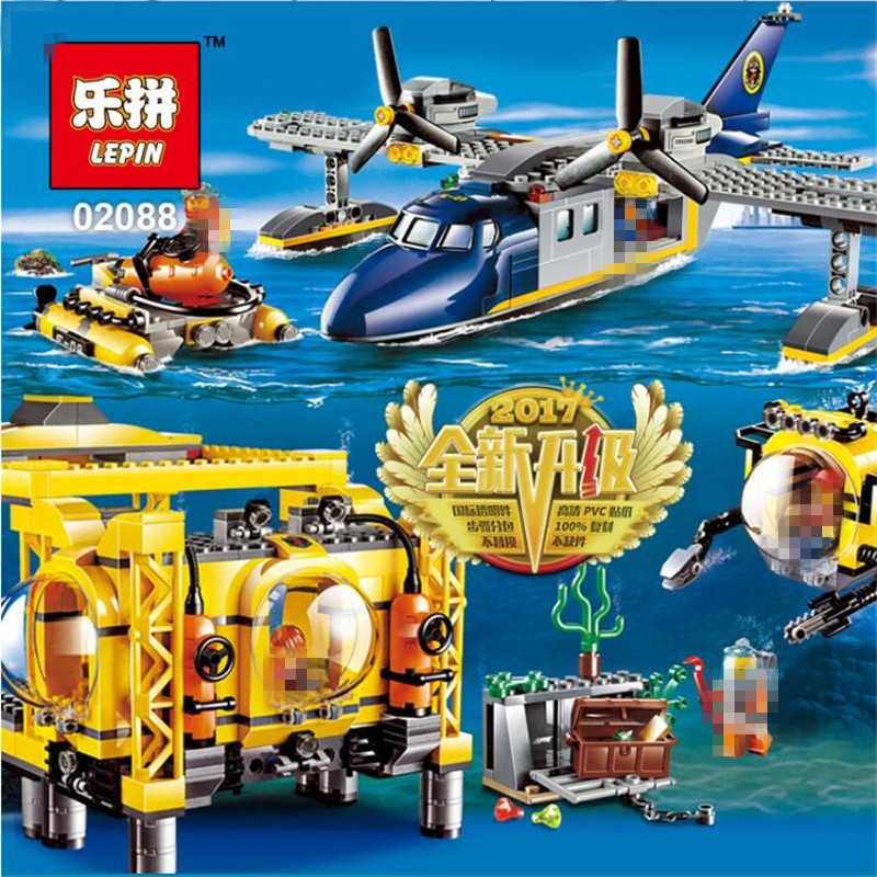 Lepin 02088 Genuine 1016Pcs City Series The Deep Sea Opearation Base Set Building Block Bricks DIY Model Toys For Children 60096 lepin 16002 2791pcs modular pirate ship metal beard s sea cow building block bricks set toys legoinglys 70810 for children gifts
