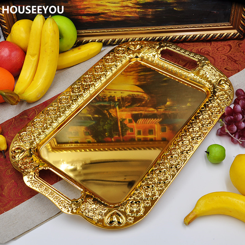 Large Size Metal Serving Tray Storage Tray Gold Fruit Plate Wedding Tray Decoration Kitchen Storage Tools