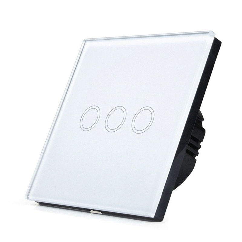 EU standard 3 gang tempered glass panel Smart Wall Switch, capacitive touch sensor switch AC 170-250V Touch Screen SwitchEU standard 3 gang tempered glass panel Smart Wall Switch, capacitive touch sensor switch AC 170-250V Touch Screen Switch