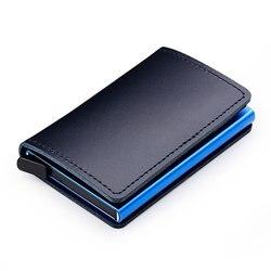 Защитой RFID 100% натуральная кожа кредитной держатель для карт Для мужчин Алюминий металла Бизнес ID карточки Многофункциональный тонкий мини-...