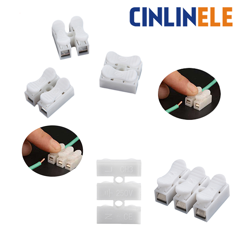 10PCSLot CH-2 CH-3 Spring Wire Quick Connector Splice With No Welding No Screws Cable Clamp Terminal 2  Way Easy Fit Led Strip